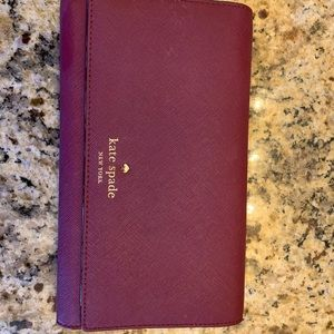 Kate spade trifold wallet in shade wine